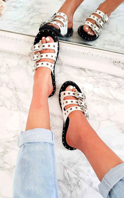 View the Ana Slip On Studded Buckled Sandals online at iKrush
