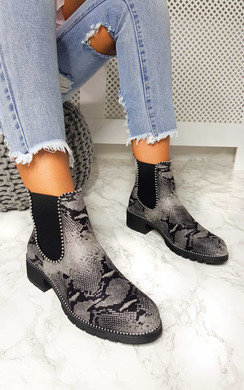 View the Andi Faux Suede Printed Ankle Boots online at iKrush