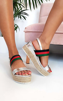 View the Antonia Stripe Espadrille Wedge Sandal online at iKrush