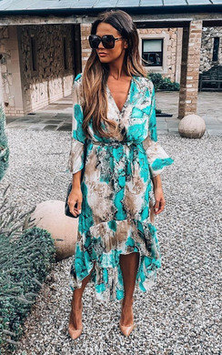 Anya Printed Floaty Maxi Dress in Turquoise