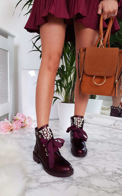 View the Aoife Embellished Biker Boots online at iKrush