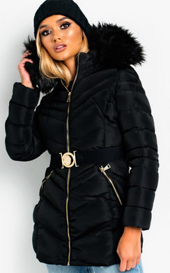 View the April Padded Faux Fur Hood Belted Jacket online at iKrush