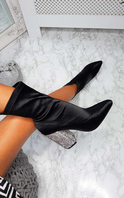 View the Ari Diamante Embellished Heeled Boots online at iKrush