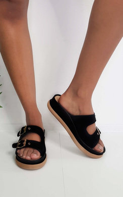 View the Ari Double Buckle Wedged Sandals online at iKrush