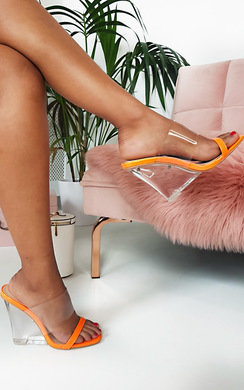 View the Ari Perspex Wedge Mule Heels online at iKrush