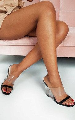 View the Ari Perspex Wedge Mule Heels online at iKrush