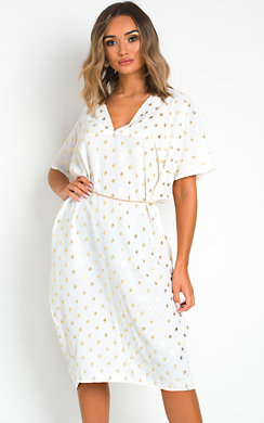View the Aria Batwing Polka Dot Maxi Dress online at iKrush