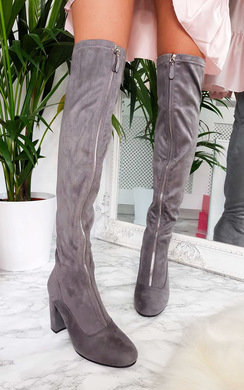 View the Aria Zip Up Knee High Boots online at iKrush