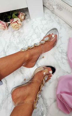 View the Ariana Embellished Perspex Heels online at iKrush