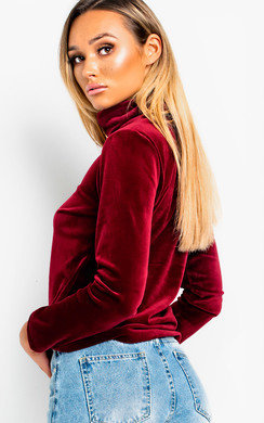 View the Ariel Roll Neck Velvet Jumper online at iKrush