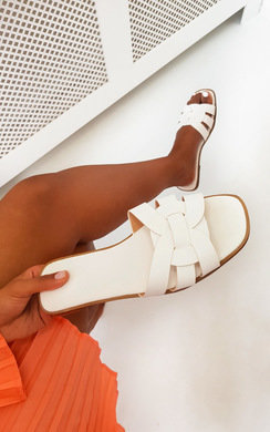 View the Arya Faux Leather Slip On Sandals online at iKrush