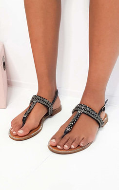 View the Asher Diamante Embellished T-Bar Sandals online at iKrush