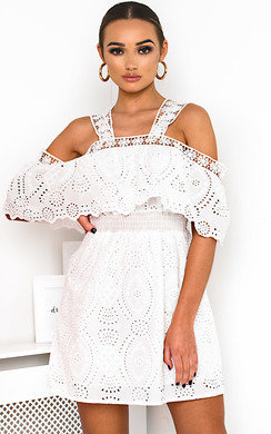View the Aster Cold Shoulder Crochet Dress online at iKrush