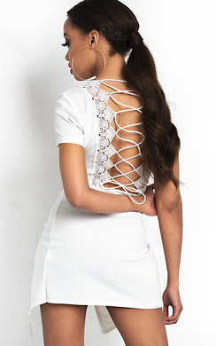 View the Aubree Lace Corset Crop Top online at iKrush
