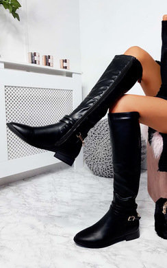 View the Aubrey Faux Leather Knee High Stripe Boots online at iKrush
