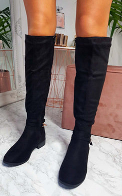 View the Aubrey Suede Knee High Stripe Boots online at iKrush