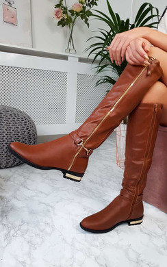 View the Georgie Faux Leather Gold Bar Knee High Boots online at iKrush