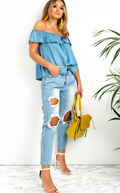 View the Audrey Off Shoulder Frill Top online at iKrush