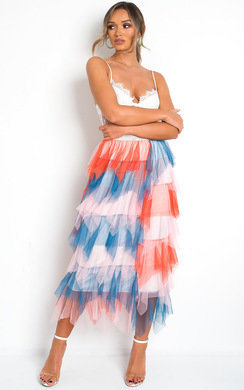 View the Aurora Layered Net Skirt online at iKrush