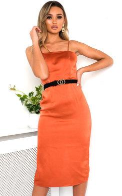 View the Aurora Satin Backless Midi Dress online at iKrush