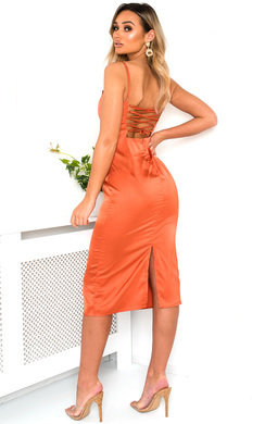 View the Aurora Satin Backless Midi Dress online at iKrush