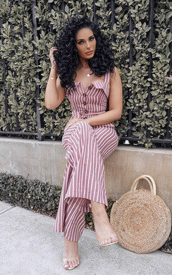 View the  Ava Button Up Stripe Jumpsuit online at iKrush