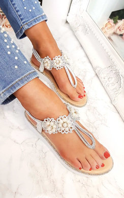 View the Aviana Pearl Embellished Wedged Sandals  online at iKrush
