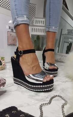View the Avril Metallic Studded Wedges online at iKrush