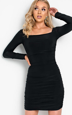 View the Avril Ruched Bodycon Dress online at iKrush