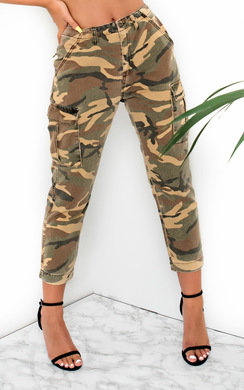 View the Avril Straight Leg Camouflage High-Rise Jeans online at iKrush
