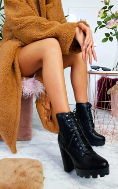 View the Ayda Faux Leather Lace Up Heeled Boots online at iKrush
