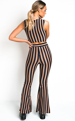 View the Ayla Striped Wide Leg Co-ord online at iKrush