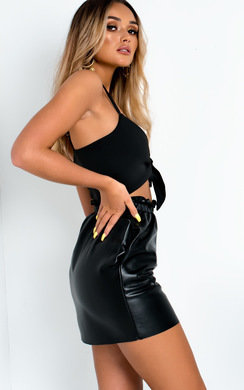 View the Aynsley Paperbag Pleather Skirt online at iKrush