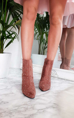 View the Bambi Studded Heeled Ankle Boots online at iKrush