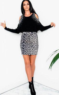 View the Barney Cold Shoulder Embellished Knit Jumper online at iKrush