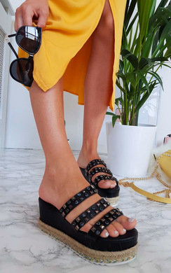 View the Beatrice Braided Studded Wedged Sandals online at iKrush