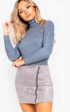 View the Bec Roll Neck Knitted Ribbed Jumper online at iKrush