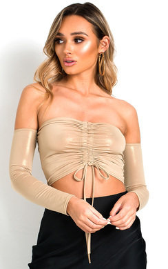 View the Bec Ruched Bardot Metallic Crop Top online at iKrush