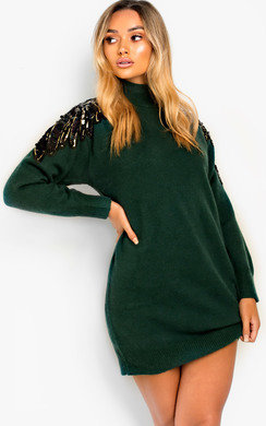 View the Becks High Neck Knitted Jumper Dress online at iKrush