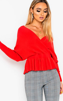 View the Becky Plunge Frill Hem Jumper online at iKrush