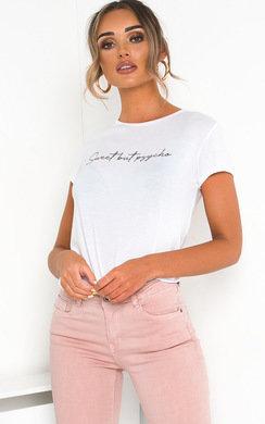 View the Bekah Slogan Stretch T-shirt online at iKrush