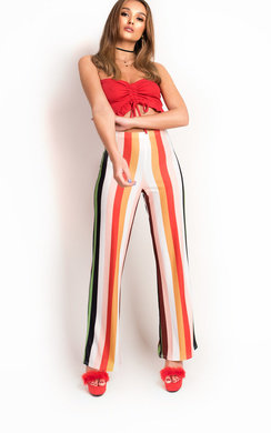 View the Bel High Waist Button Wide Leg Trousers online at iKrush