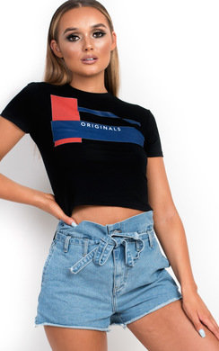 View the Belle Slogan Cropped T-Shirt online at iKrush