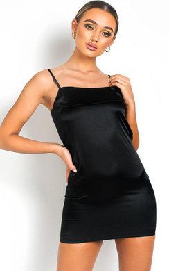 View the Belle Square Neckline Satin Mini Dress online at iKrush