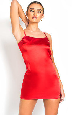 View the Belle Square Neckline Satin Mini Dress online at iKrush