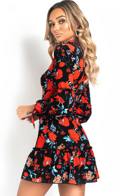 View the Naomi Frill Hem Floral Dress online at iKrush