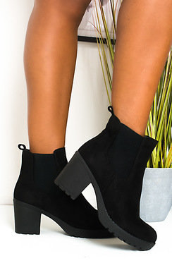 View the Betty Faux Suede Chunky Heel Boots online at iKrush