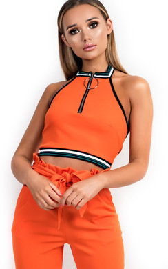 View the Betty Stripe Zip Front Halter Crop online at iKrush