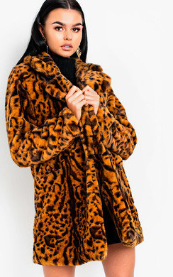View the Bianca Leopard Print Faux Fur Coat online at iKrush
