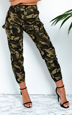 View the Billy Straight Leg Camouflage High-Rise Trousers online at iKrush